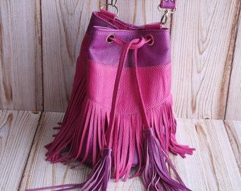 Leather bag with fringe