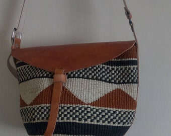 ON SALE African Sisal Bag, Beach bag, Summer bag, Woven bag, Summer bag, Gift for her, Boho bag, Bohemian bag, Sisal bag with a leather bott