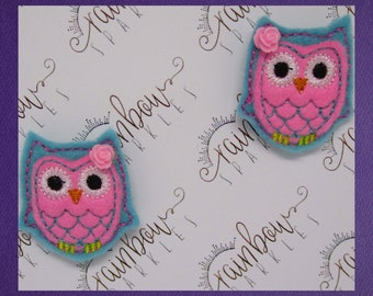 Blue Owl Felt Hair Clips