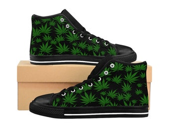 best loved 29a97 9d2f7 WomenS Weed Shoes HighTop WomenS Sneakers Custom Marijuana Shoes
