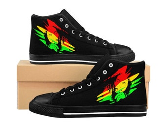 Men s High-Top Sneakers Bob Marley Shoes Jamaican Style Shoes Reggae King 6a5381b3186
