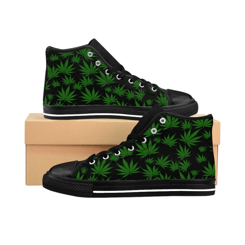 cheap for discount c1a09 f3844 WomenS Weed Shoes HighTop WomenS Sneakers Custom Marijuana   Etsy