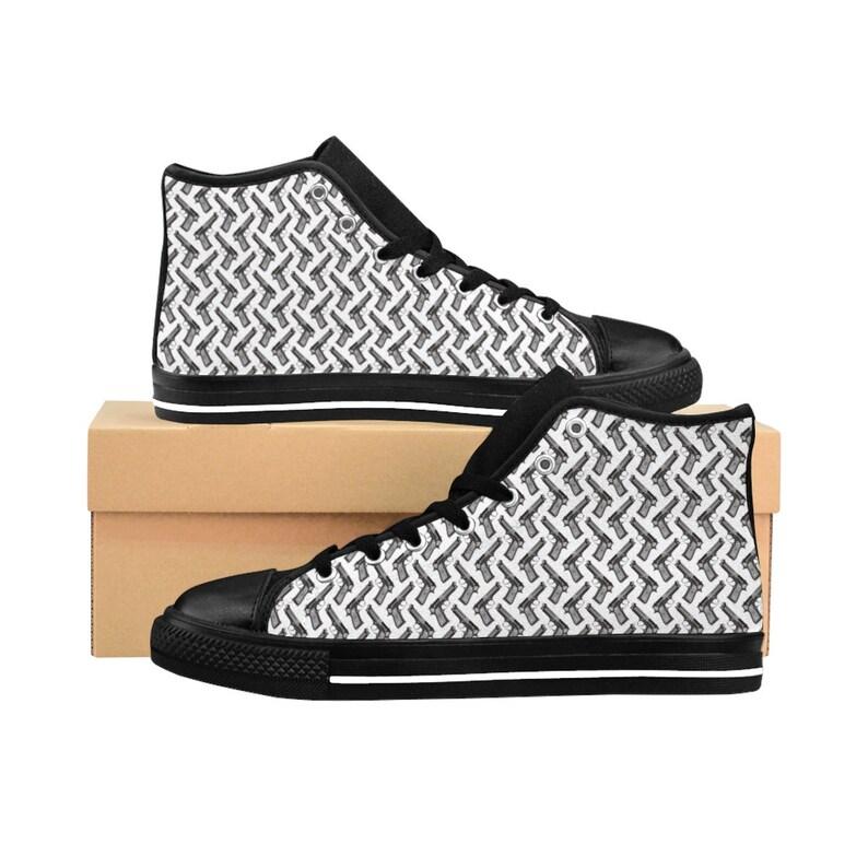 Mens HighTop Sneakers, Gun Shoes, Gun Pattern Shoes, Custom Shoes, Mens Shoes,