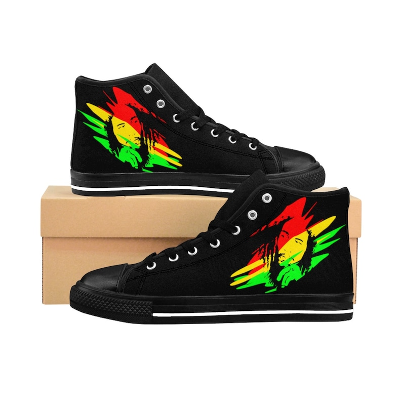 Women's High Top Sneakers Bob Marley Shoes Jamaican Style Shoes Reggae King