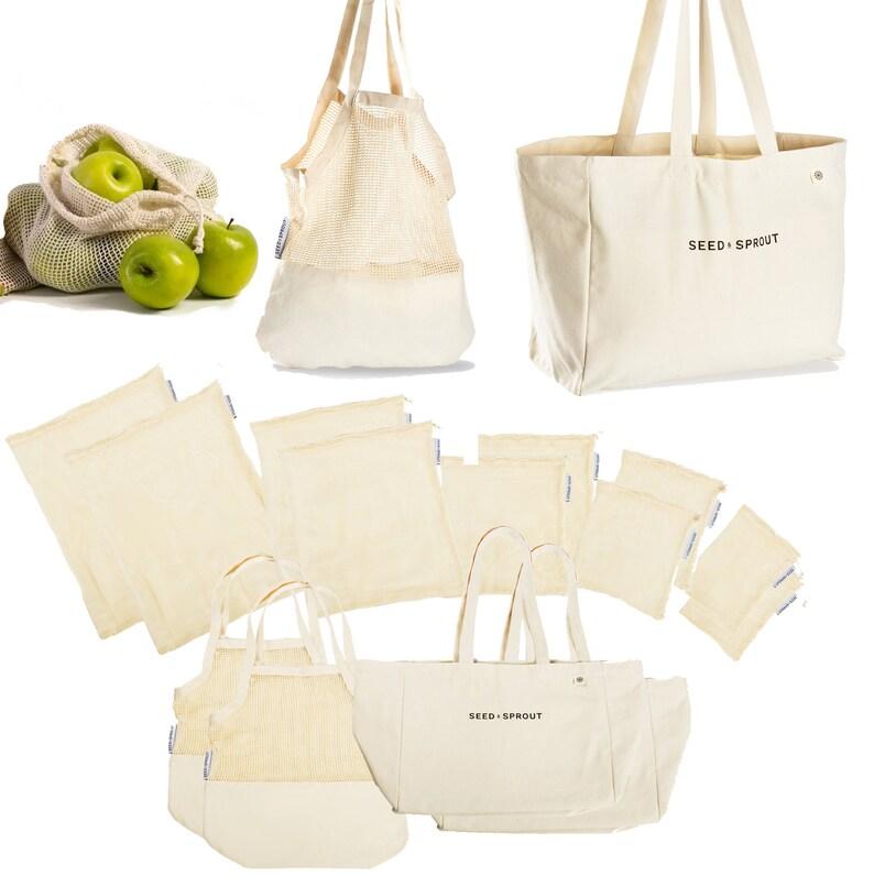 14 Piece 100/% Organic Cotton Farmers Market Shopping Bag Set Farmers Market Shopping Bag Set