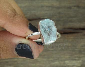 Designer Blue Topaz Gemstone Ring Oval Shape Ring Sterling Silver Ring Faceted Gemstone Ring Bezel Set Ring Dainty Ring Statement Ring