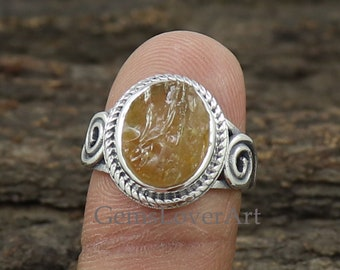 Citrine Gemstone Solid 925 Sterling Silver Boho Ring Jewelry R2021-1