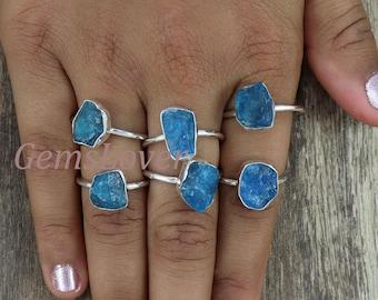 Neon Apatite Silver Ring,Garnet Silver Ring,Amethyst Silver Ring,Rough Ring,925 Sterling Silver Ring,Silver Christmas Gift,Adjustable Ring