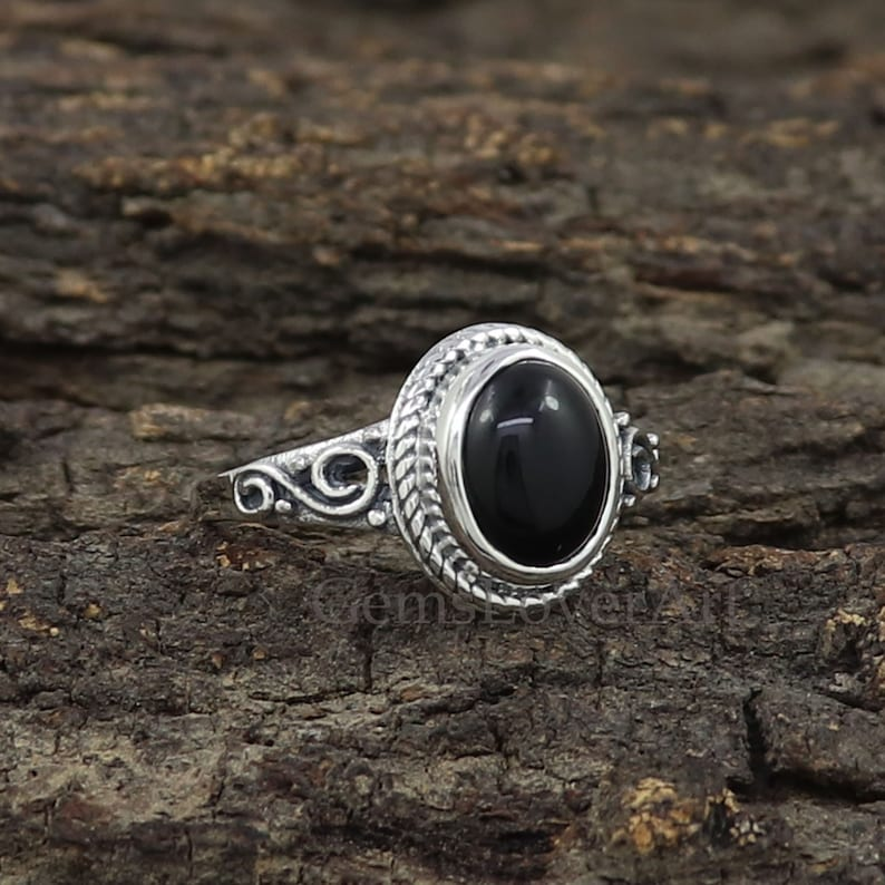 December Birthstone Ring 925 Sterling Silver Ring Black Onyx Ring Bohemian Silver Ring Women Gift Ring Natural Black Onyx Designer Ring