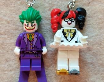 Joker and Harley Quinn Lego Earrings