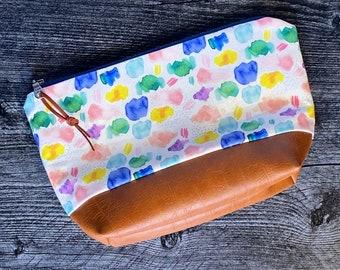 Makeup Bag   Cosmetic Bag   Zipper Pouch   Travel Bag   Vegan Leather   Multi Color Watercolor Print