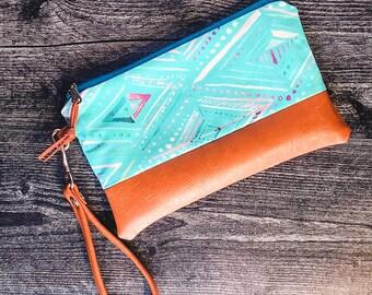 Wristlet Bag   Wristlet Purse   Clutch Bag   Zipper Bag   Teal Boho Print