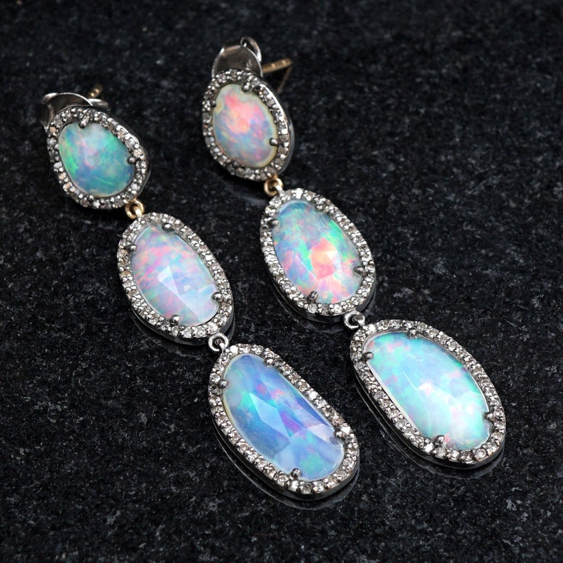 Opal Gemstone Pave Diamond 14k Gold Handcrafted Drop Dangle 925 Silver Earrings Jewelry EAMJ-1150