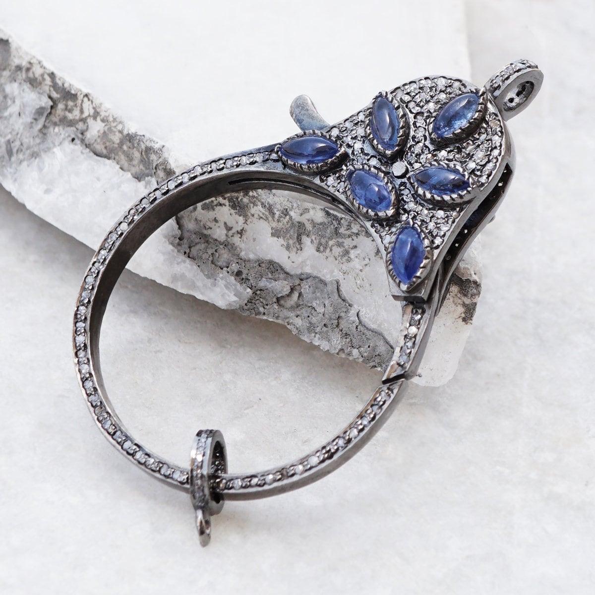 Bleu Bleu Bleu saphir Pierre Double face diamant pavé 925 mousqueton argent fermoir verrou composant trouver bijoux FI-14 9ddba4