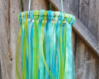 Nursery Mobile - Lime Green and Teal Ribbon