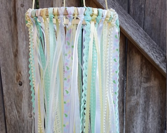 Nursery Mobile - Mint and Ivory Ribbon