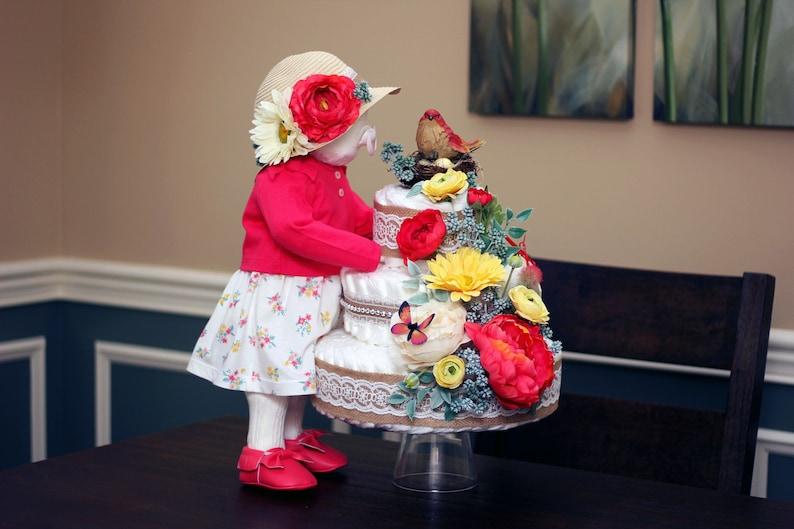 Unique Original Custom-Made Standing Baby Girl /& Floral Diaper Cake Creations Baby Shower Centerpiece Decor 2 piece Rustic Vintage Burlap