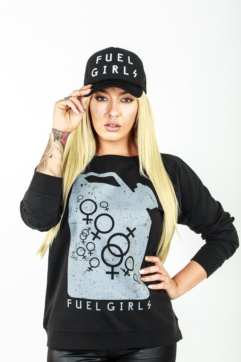 Ladies Black Sweatshirt  Crew Neck  Fuel Can Logo  Official image 0