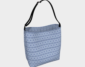 Denim Diamonds day tote bag, carry-all bag, handbag, knitting bag, crafts bag, purse, overnight bag, travel bag, ladies' gift tote
