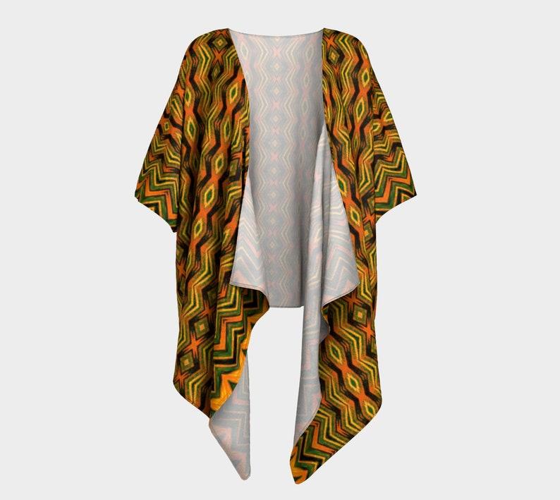 loose fit jacket cardigan Draped kimono African jungle print tribal look orange Jungle Jive flowing jacket brown olive