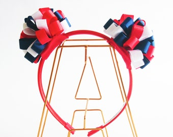 Double Pompom Headband in Red Blue and White Ribbons