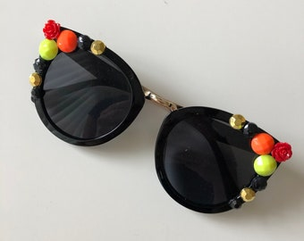 3528497b78a7 Burst of Flame: black square sunglasses with orange, yellow, gold and black  gems and red roses