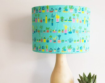 Succulent and Cactus wooden Lamp - mothers day gift - home decor - bedside lamp - lampshade - table lamp