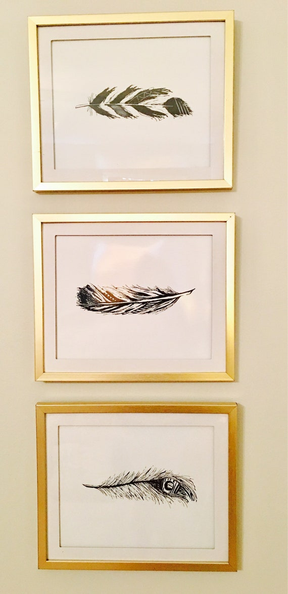 Framed Set Of Three Feathers Silhouette Prints In Matted Gold Etsy