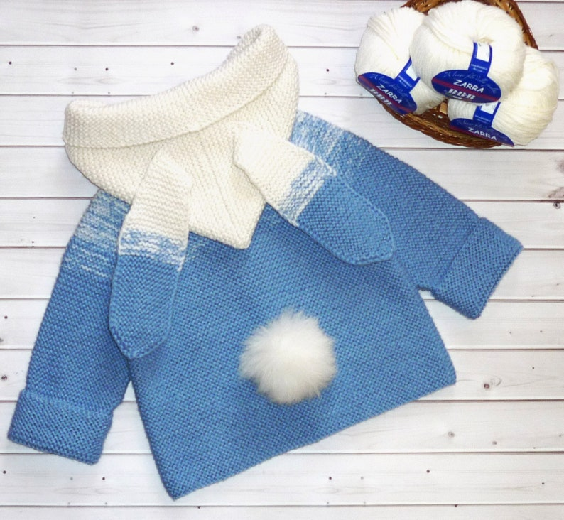 0e3e02519 Hand knitted baby boy hoodie jacket Toddler boy jacket Hand