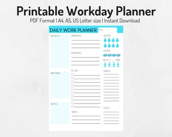 workday planner etsy