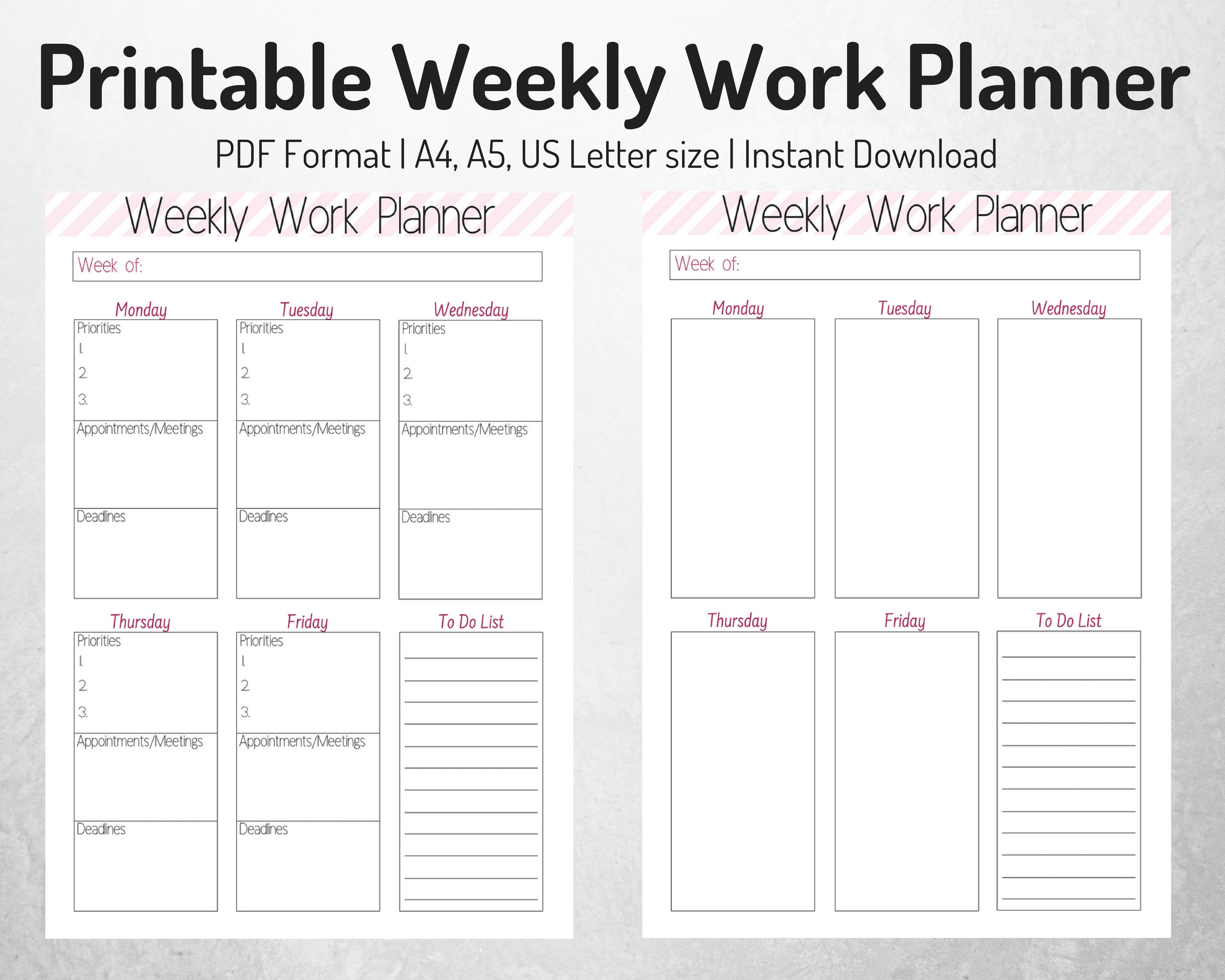 Weekly Work Organizer Weekly Planner Work Planner ...