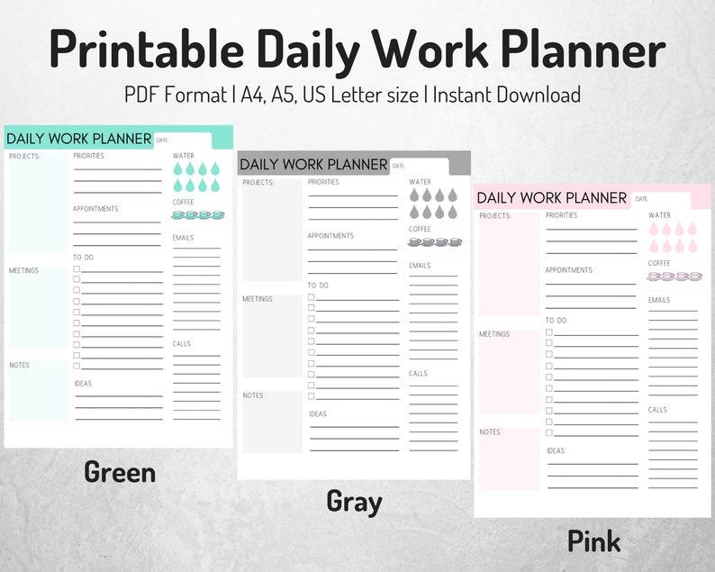 daily work planner daily planner work organizer printable