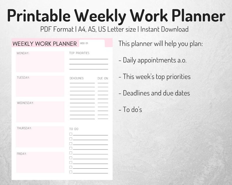 weekly work planner weekly planner work organizer work | etsy