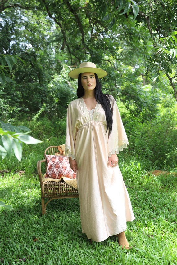 70s Free Size Maxi Bell Sleeve Dress