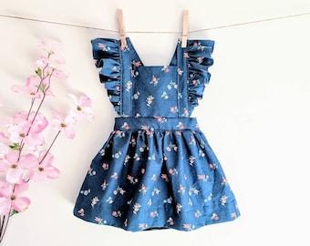 c5b0371e55f2 Dark Blue Liberty Floral Pinafore | Baby Pinafore Dress | Toddler Pinafore  Dress | Girls Pinafore Dress | Baby Girl Clothing | Vintage Girls