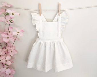 52f90c0e0e45 Linen Pinafore | Pinny | Baby Pinafore Dress | Toddler Pinafore Dress |  Girls Pinafore Dress | Vintage Girls Clothing | Linen | White Dress