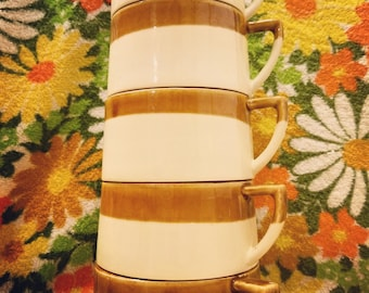 Unique Tapered Stacking Stoneware Mugs - Set of 5