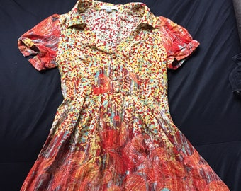 Crazy Pattern Yellow Sundress Size Medium