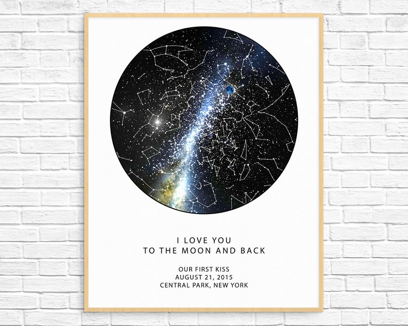 Custom Star Map The Real Night Sky Custom Star Poster Etsy