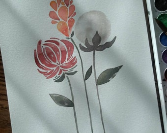 Original Flower and Cotton Watercolor Painting