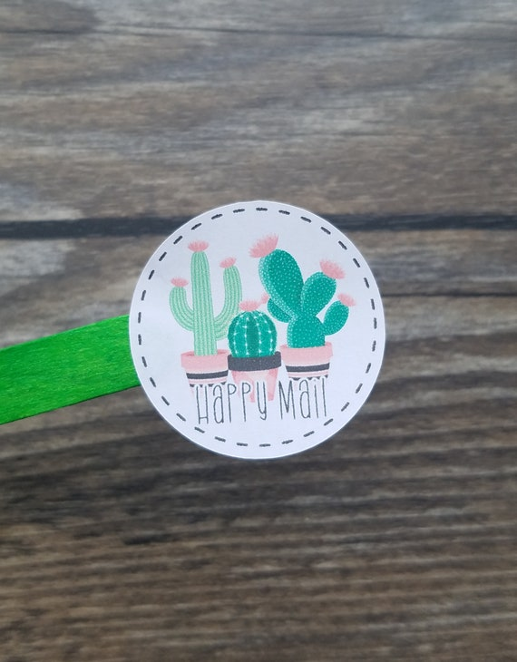 sticker roll small business 25-100-150-250-500 branding sticker packaging stickers label labels happy mail Cactus Happy mail sticker