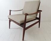 Vintage Danish Teak Spade Chair By Finn Juhl For France Sons