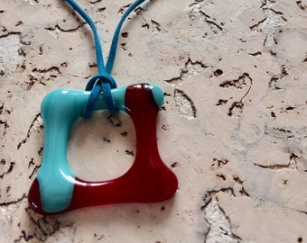 Necklace 'Warm on cold' glass fusing