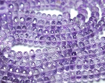 10 Inches Strand, Purple Amethyst Faceted Rondelles, 6- 6.5mm