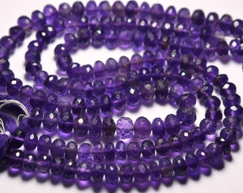 9 Inches Strand, Purple Amethyst Faceted Rondelles, 6mm