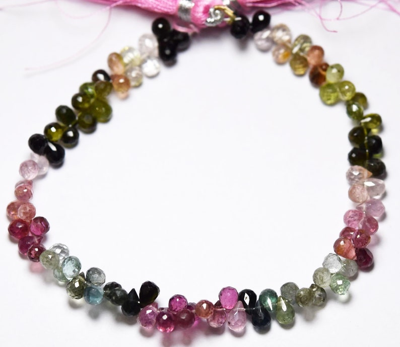 Size 6x4mm Tourmaline Faceted Drops Shape 8 Inches Strand