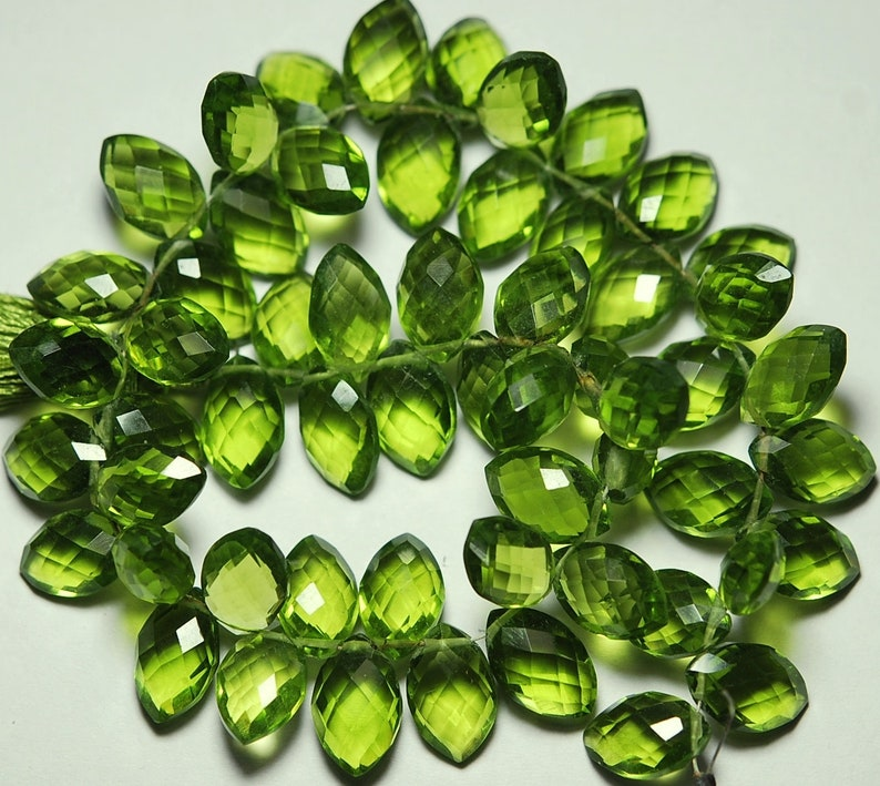 Size 12mm To 13mm 8 Inch Strand Peridot Green Quartz Side Drilled Faceted Marquise