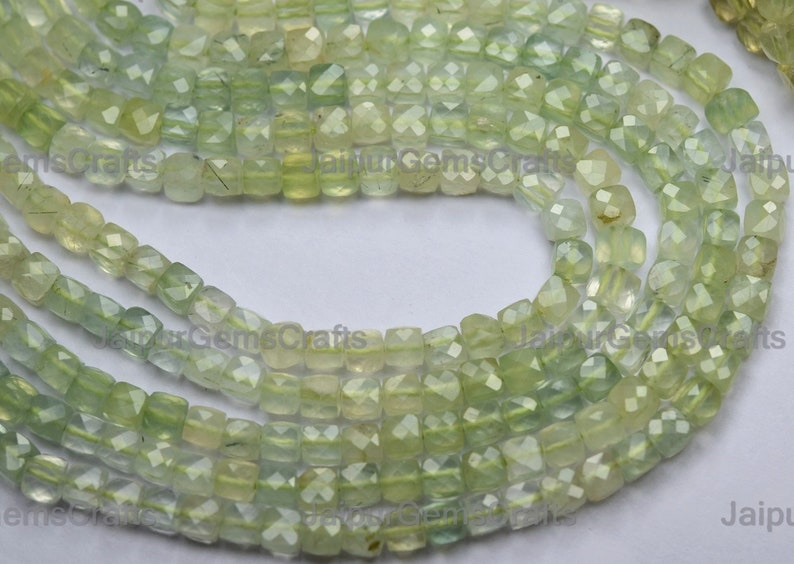 Prehnite Shaded Green Faceted Cube 12.5 Inches Strand Size 4mm