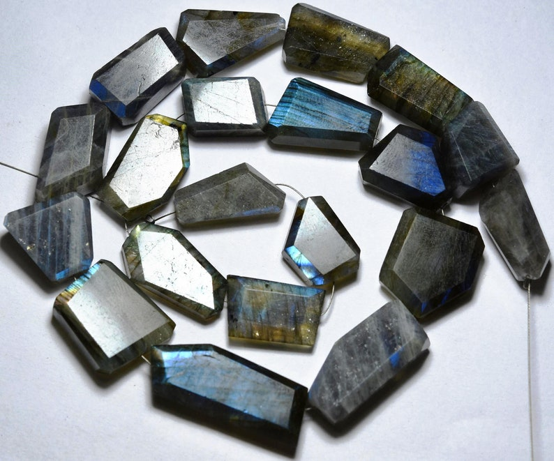Labradorite Blue Size 15mm To 25mm Golden And Green Blue Flashy Straight Drilled Faceted Nuggets 8 Inches Strand