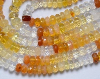 9 Inches, Mexican Opal, Faceted Rondelles, Size 6MM To 6.50MM